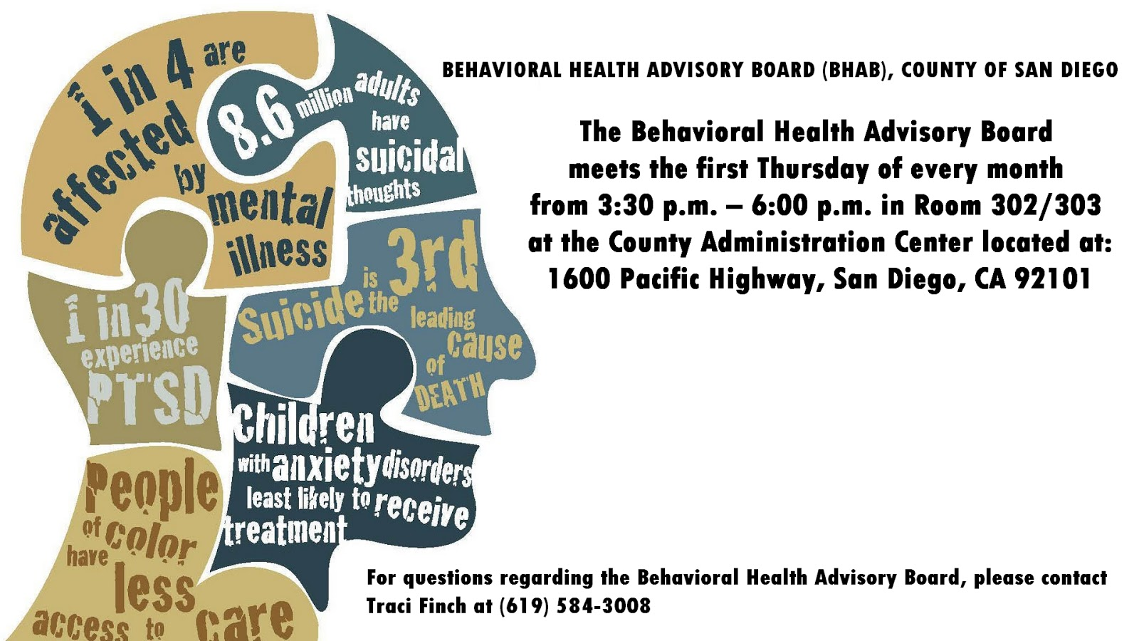 San Diego Behavioral Health Advisory Board meetings flyer
