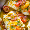 PAN SEARED COD IN WHITE WINE TOMATO BASIL SAUCE