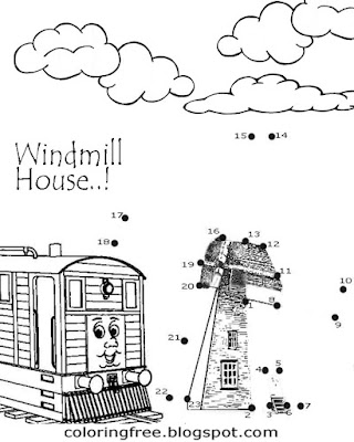 Realistic art windmill house Dot to dot printables join up the dots coloring activities for children