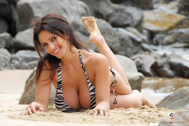 Denise Milani Beach Zebra HD Sexy Photoshoot Hot Photo 11