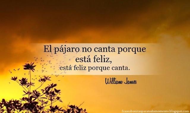 El pájaro no canta porque está feliz, está feliz porque canta.  -William James