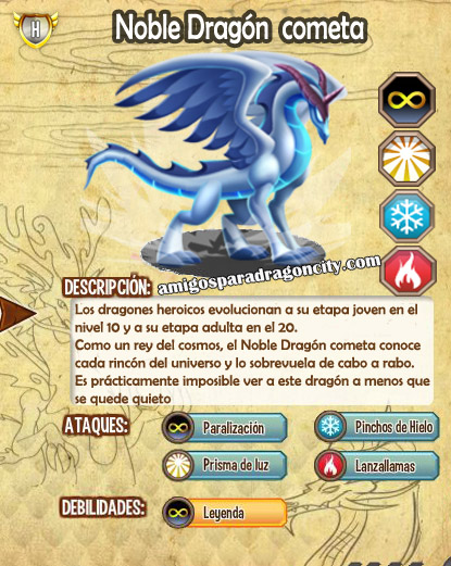 imagen de las caracteristicas del noble dragon cometa