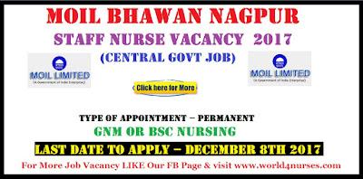 MOIL BHAWAN Nagpur Staff Nurse Vacancy December 2017 (Central govt Job)