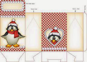 Cajas de Pingüinos Navideños para Imprimir Gratis.