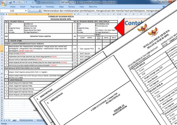 Contoh Aplikasi SKP Guru Golongan II dan Tabel Angka Kredit Format Microsoft Excel