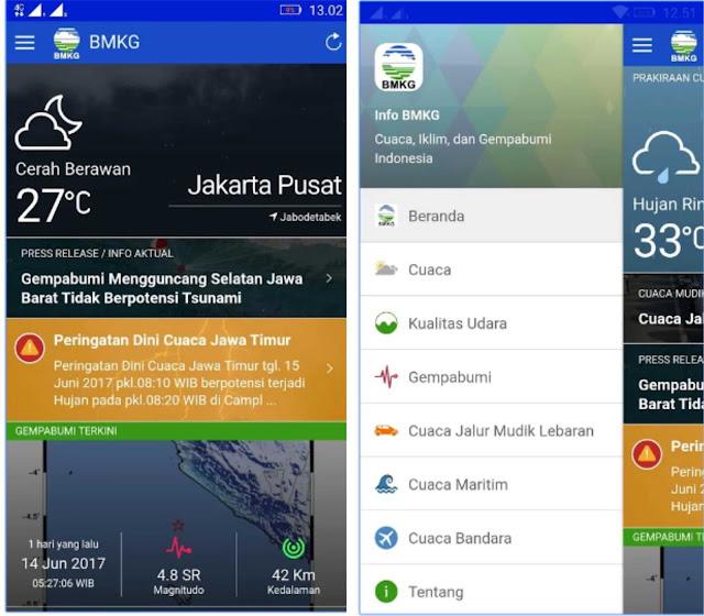 Aplikasi BMKG untuk info cuaca langsung di Android