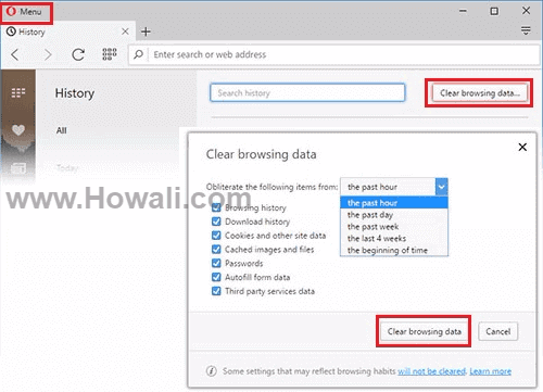 How to clear delete browsing history in Opera
