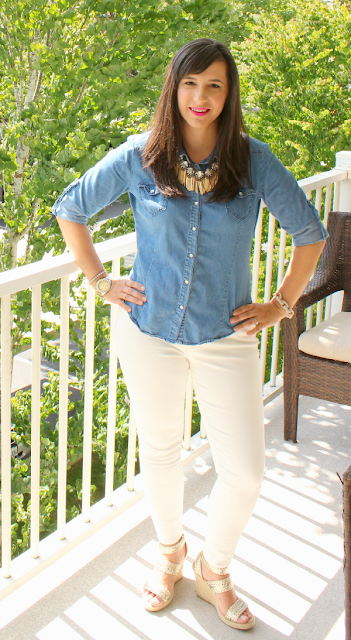 Showgirl Fringe Statement Necklace Chambray Button Up and white skinny jeans