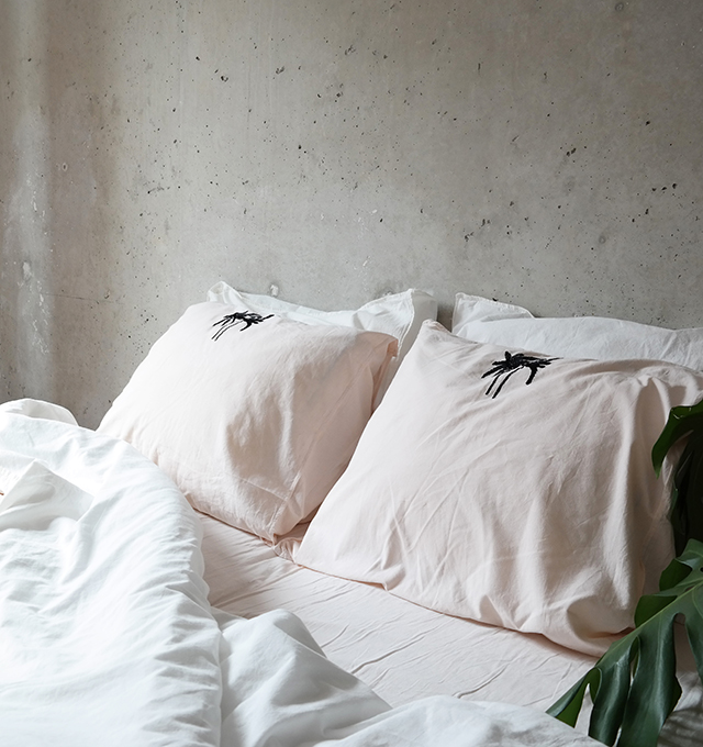 Embroidery Detailing Adds A Delicate Graphic Touch, With The Pillowcases  Featuring A Black Palm And The Duvet Cover Featuring A Crisp Sheets Tonal  Logo.