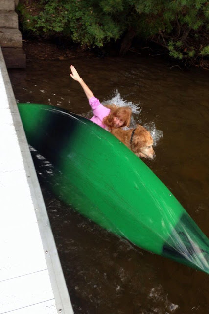 Woman with his dog sinking