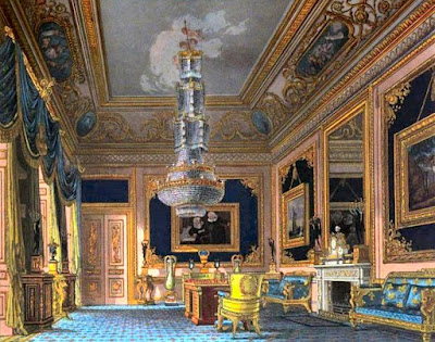 Blue Velvet Room, Carlton House, from The History of the Royal Residences by WH Pyne (1819)