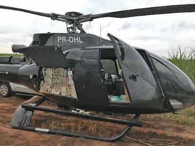 PF apreende helicóptero de R$ 4 milhões e 500 kg de cocaína em ação contra tráfico de droga em SP
