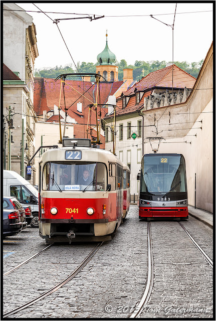 Tram 7041 and Tram 9283 passing in Lesser Town Prague