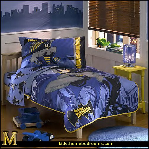 Batman themed bat cave decorating ideas  batman bedrooms - batman bedroom decorating ideas -  batman furniture - batman murals - batman wall decals - batman bedding - batmobile bed - Batman room decor - batman pajamas -  batcave DC Comics Batman -  batman comics themed bedrooms -  Batman vs Superman Bedrooms - Superhero bedroom ideas -