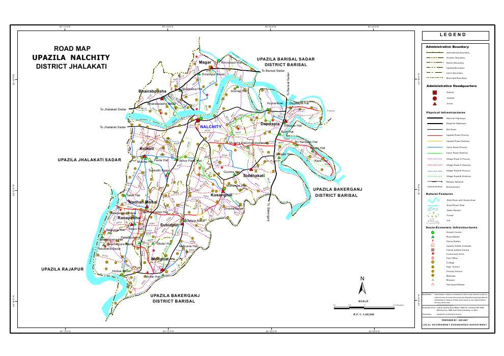 Nalchity Upazila Road Map Jhalokathi District Bangladesh