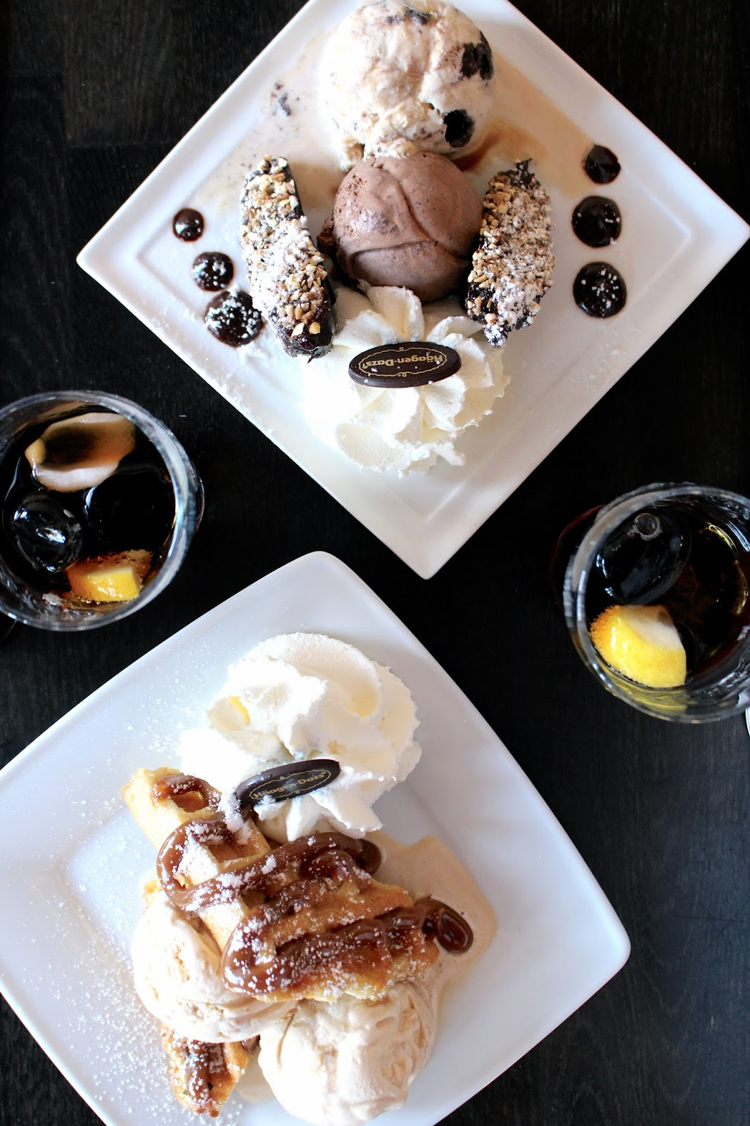 Haagen Dazs warm brownies and waffles desserts