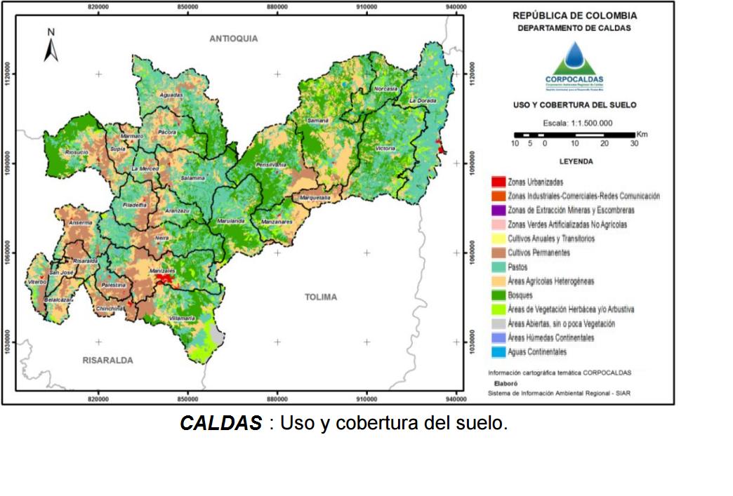 Godues mapas del departamento de caldas en colombia for 4 usos del suelo en colombia