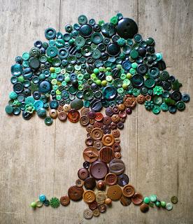 Düğme ve Boncuklardan Ağaç Yapımı