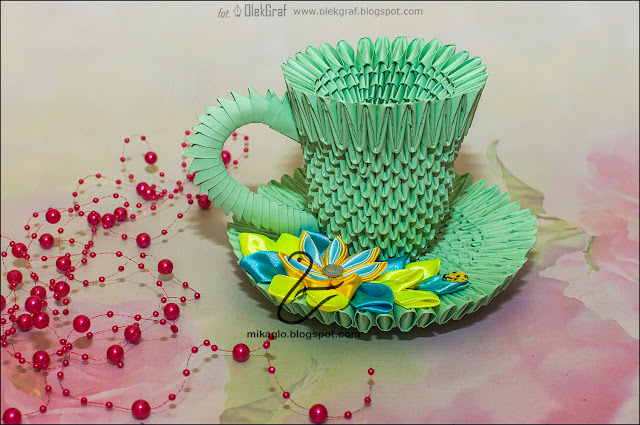 650. Filiżanka z kwiatami z origami / 3d origami tea cup