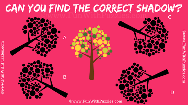 It is hard visual brain teaser for adults in which one has to find the shadow of given colorful tree puzzle image.