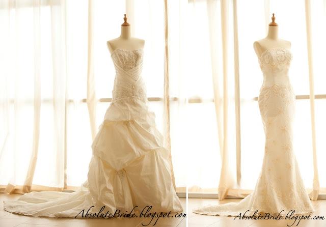 slim, strapless, lace mermaid dress