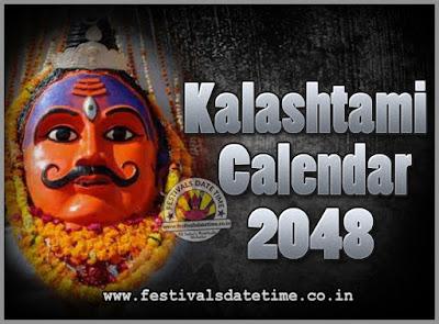 2048 Kalashtami Vrat Dates & Time in India, 2048 Kalashtami Vrat Calendar