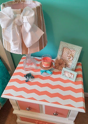 Learn how easy it is to add chevron stripes to a painted dresser or nightstand! You can find the tutorial at DIY beautify.
