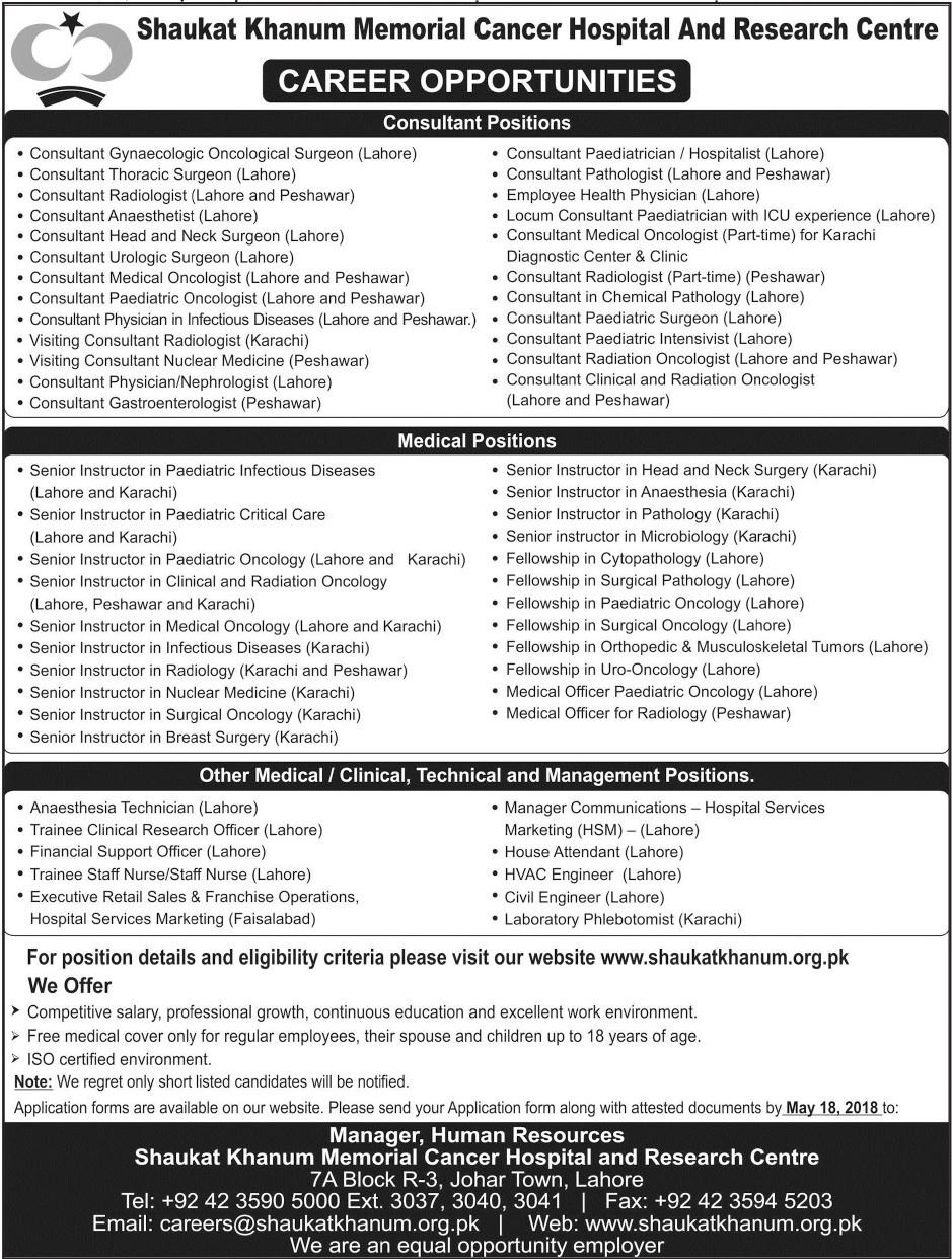Jobs In Shaukat Khanum Memorial Cancer Hospital May 2018