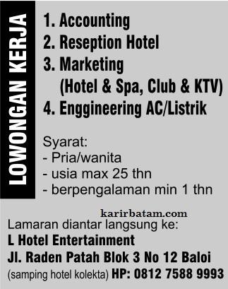 Lowongan Kerja L-Hotel Entertainment