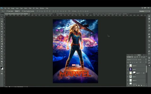 Cartaz Capitan Marvel no Photoshop
