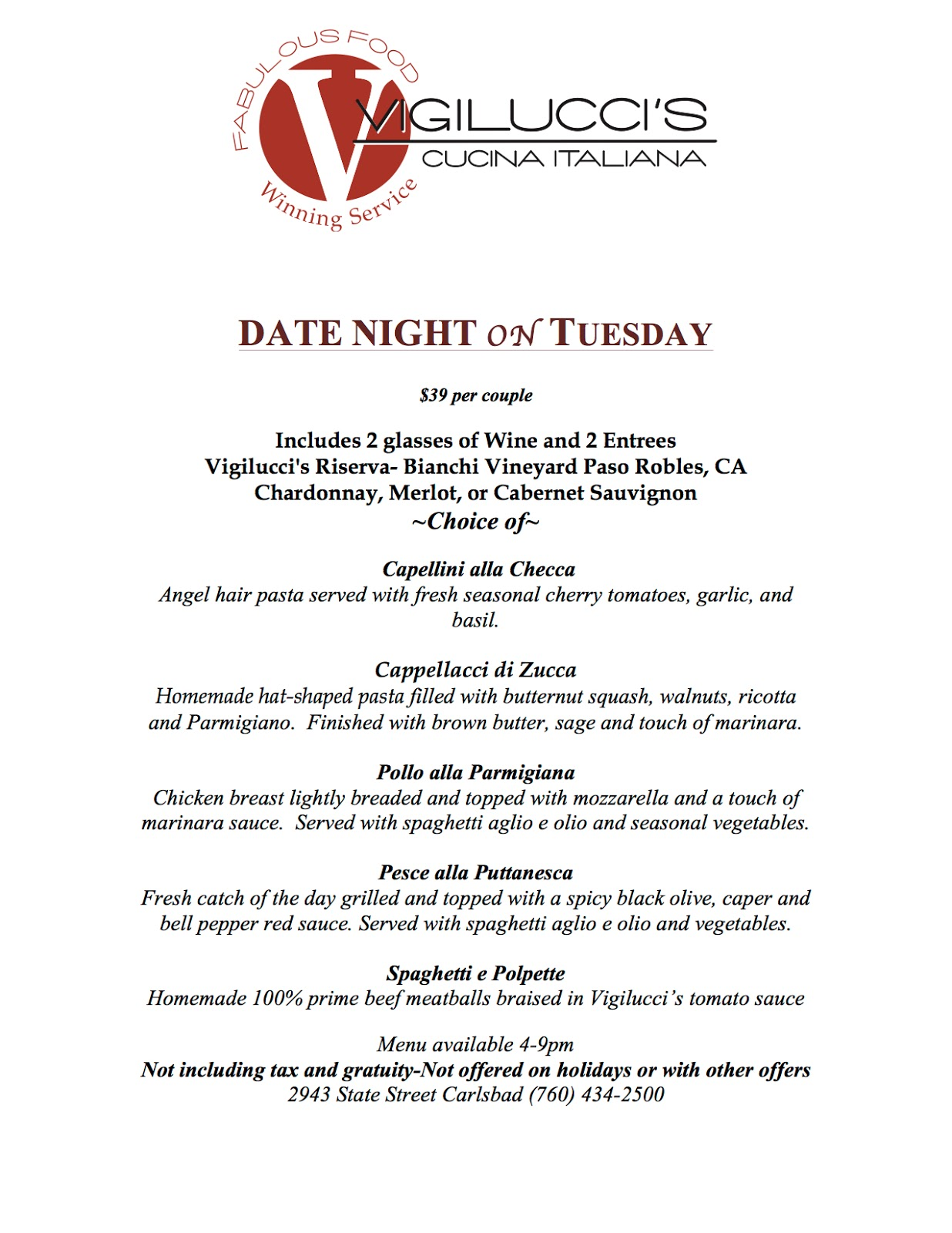 Vigilucci's Cucina Italiana Encinitas Sandiegoville Wine Dine Without Breaking The Bank With These 15
