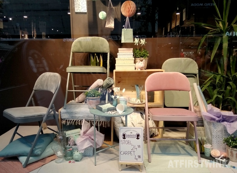 Søstrene grene store velour lined chairs shop window