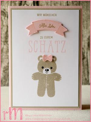 Stampin' Up! rosa Mädchen Kulmbach: Stamp A(r)ttack Blog Hop (7 auf einen Streich): Willkommen kleiner Schatz – Babykarte mit Ausgestochen Weihnachtlich, Bannerweise Grüße, Fenster zum Glück, Cookie Cutter Punch und Banner Duo