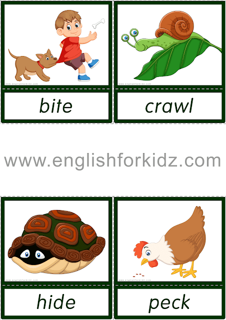 Animal actions flashcards for English learners