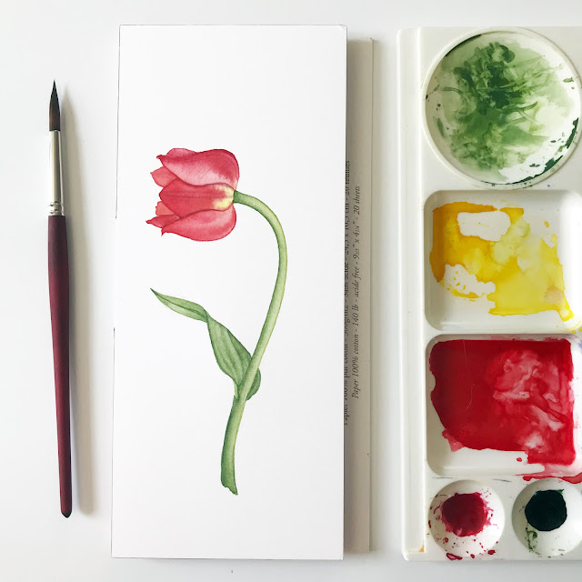 painting, watercolor, tulips, botanical art, Anne Butera, My Giant Strawberry