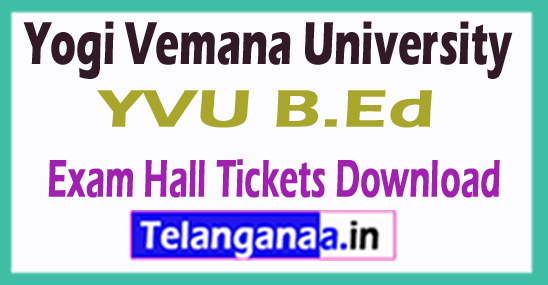 Yogi Vemana University YVU B.Ed Exam Hall Tickets Download