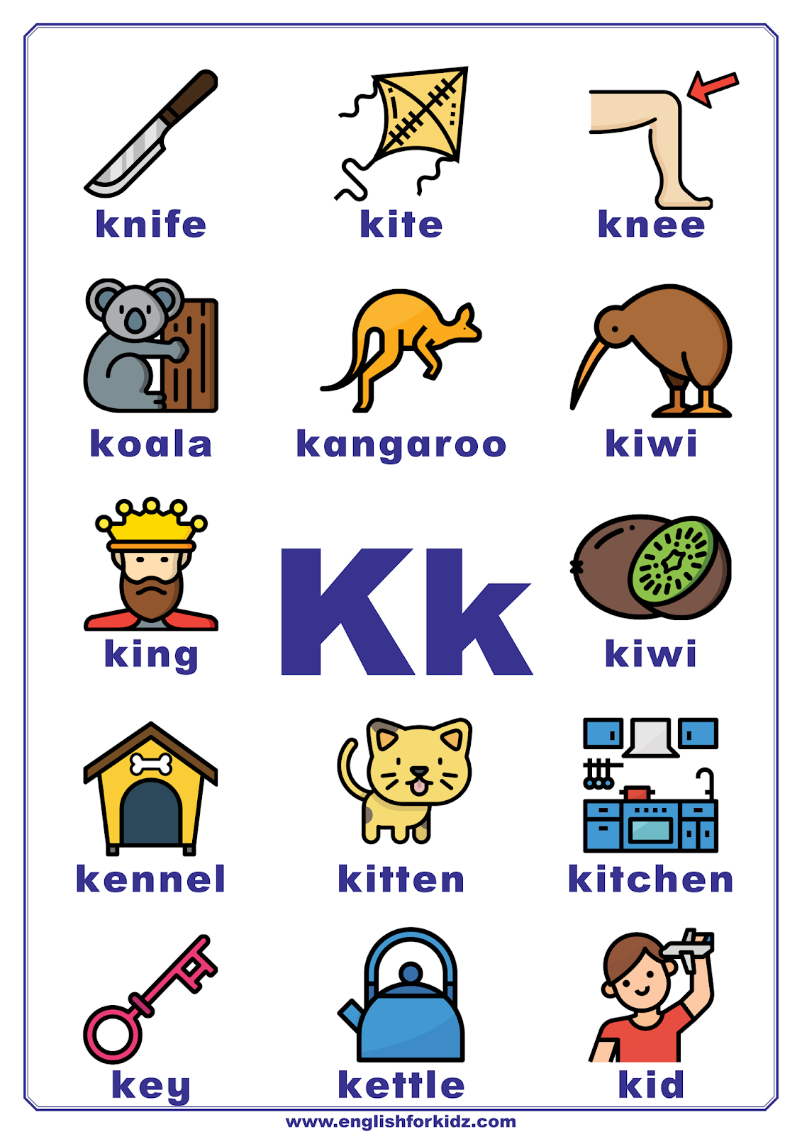 English For Kids Step By Step Letter K Worksheets Flash