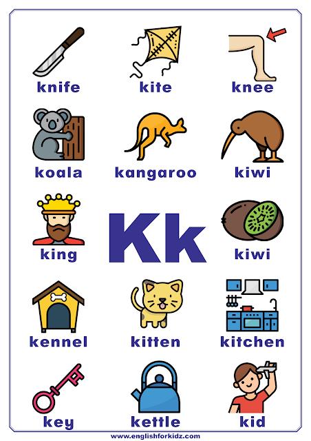 English alphabet poster - letter K