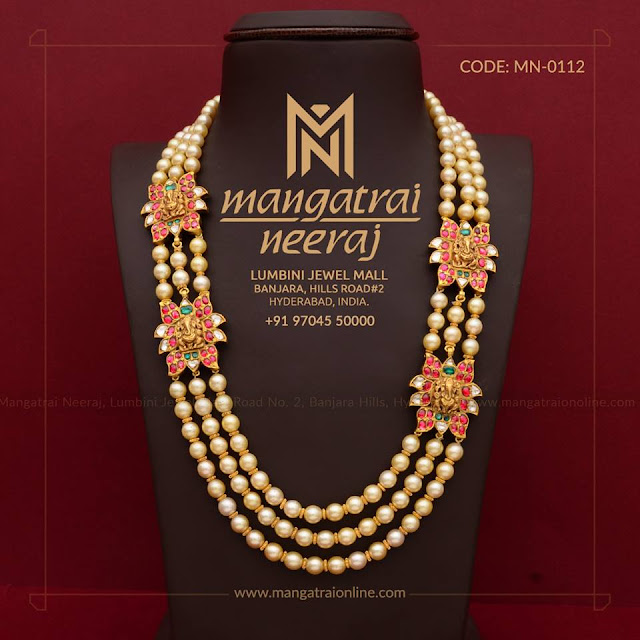 Pearls Long Chain with Ganesh Motifs
