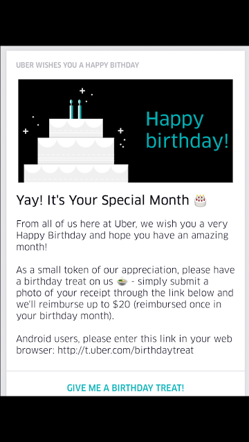 $20 birthday treat from Uber!