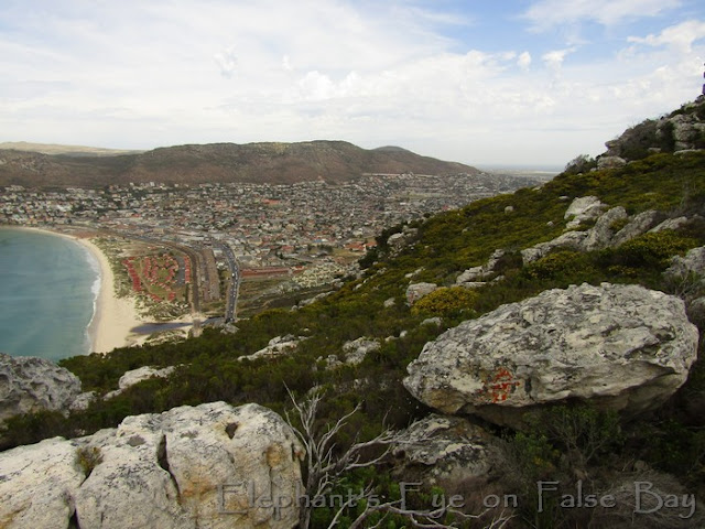 From Trappieskop looking down to Fish Hoek and the mouth of the Silvermine River