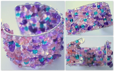 Spring: amethyst, rose quartz, clear quartz, glass beads, silver cuff :: All Pretty Things