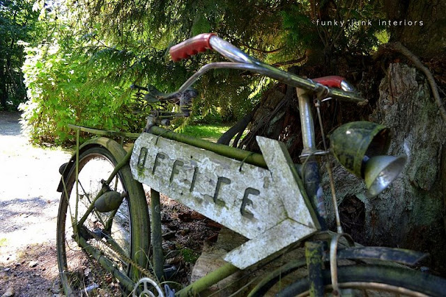A junk themed campsite... a photographer's dream! via Funky Junk Interiors / rusty bikes