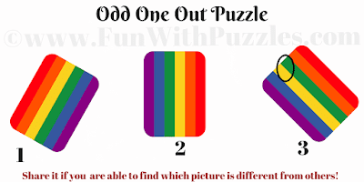 Answer of Odd One Out Rainbow Picture Puzzle for Kids