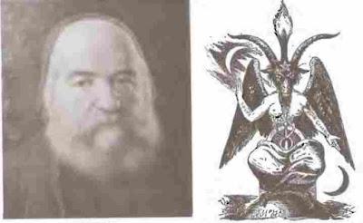 Eliphas Levi dan Baphomet yang digambarkan oleh Eliphas Levi