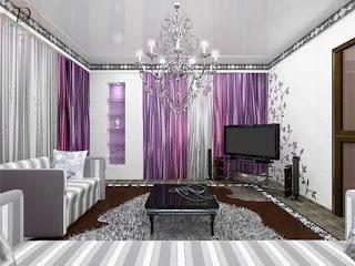 diseño sala color morado