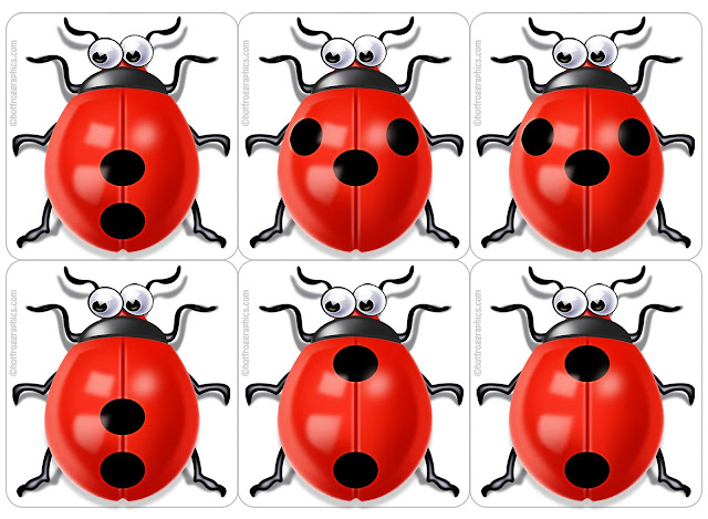sheet of Ladybugs for card game
