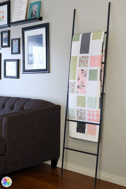 Grandstand Quilt pattern in Modern Farmhouse fabrics - pattern by Andy of A Bright Corner.  A really unique quilt using fat quarters