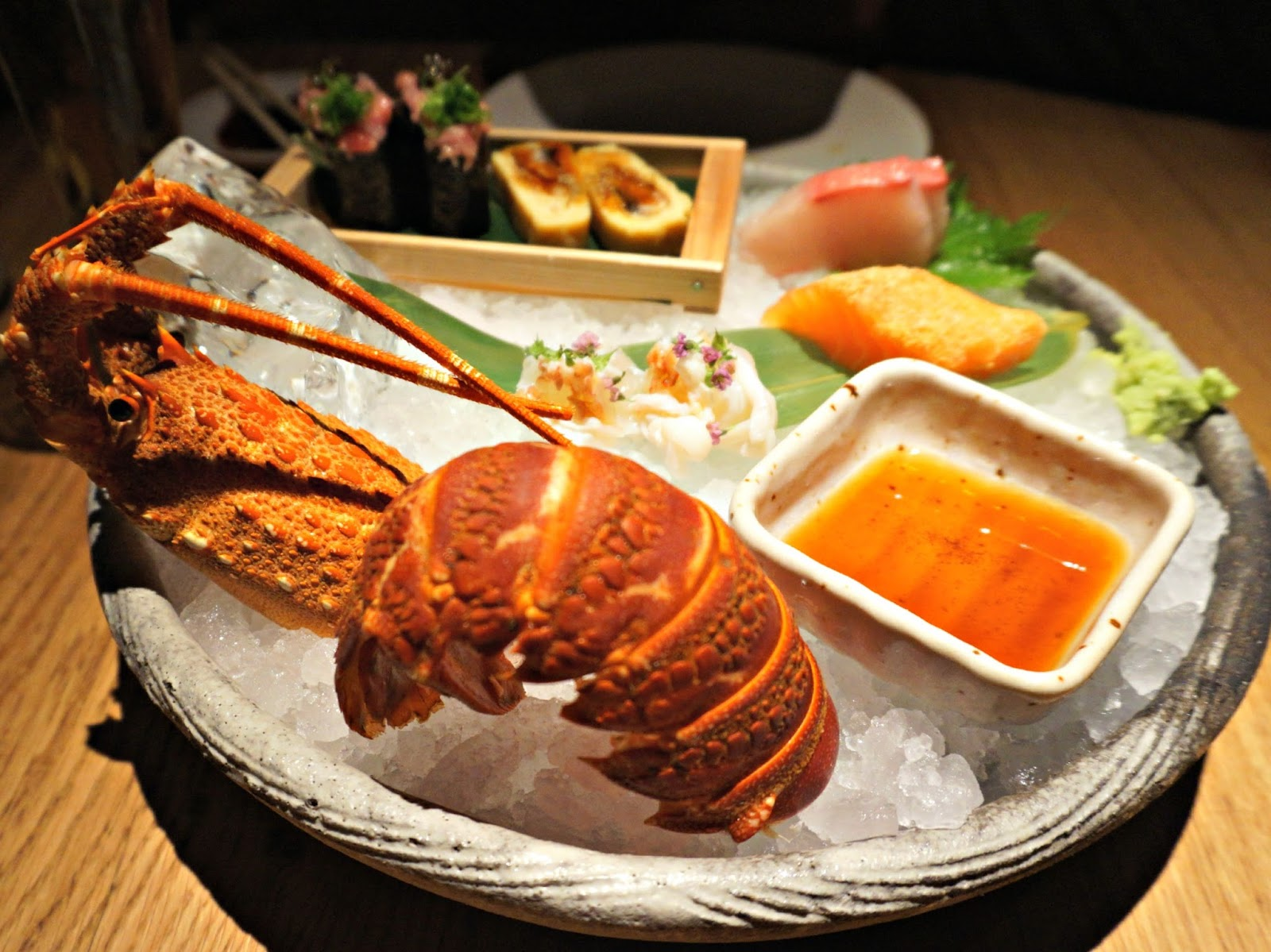platter of sushi with lobster