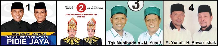 Empat pasang calon bupati dan wakil bupati kabupaten Pidie Jaya